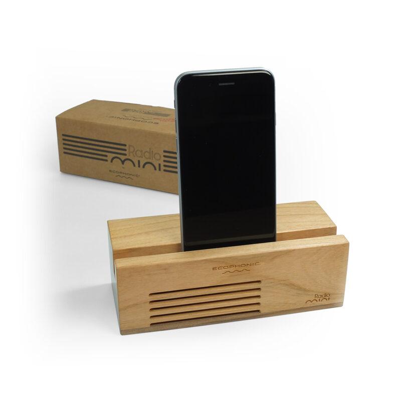 altavoz sostenible radio mini madera de cerezo ecophonic